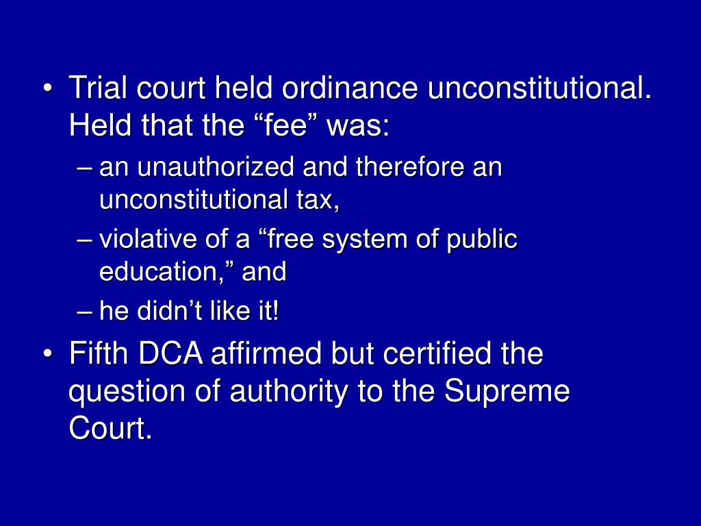 """Trial court held ordinance unconstitutional.  Held that the """"fee"""" was:"""