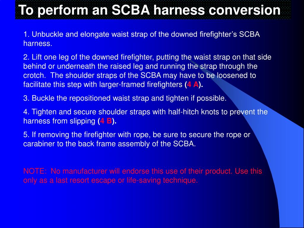 To perform an SCBA harness conversion
