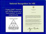 national recognition for hbi