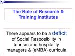 the role of research training institutes
