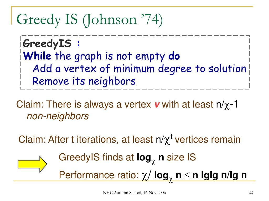 Greedy IS (Johnson '74)
