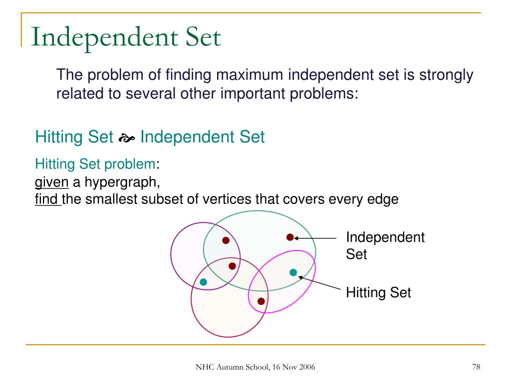 The problem of finding maximum independent set is strongly related to several other important problems: