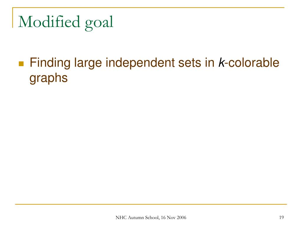 Modified goal