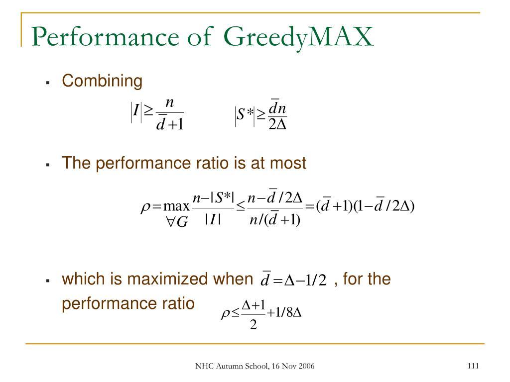 Performance of GreedyMAX