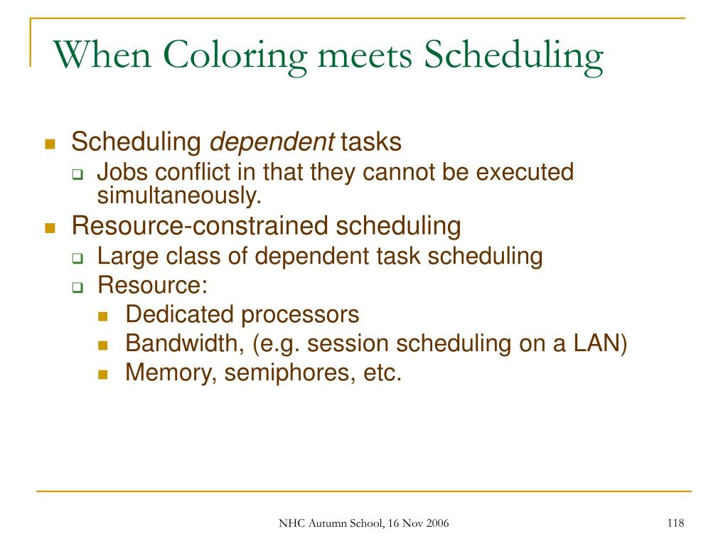 When Coloring meets Scheduling