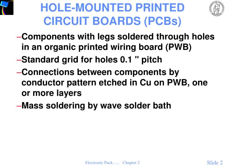 Hole mounted printed circuit boards pcbs