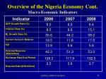 overview of the nigeria economy cont macro economic indicators