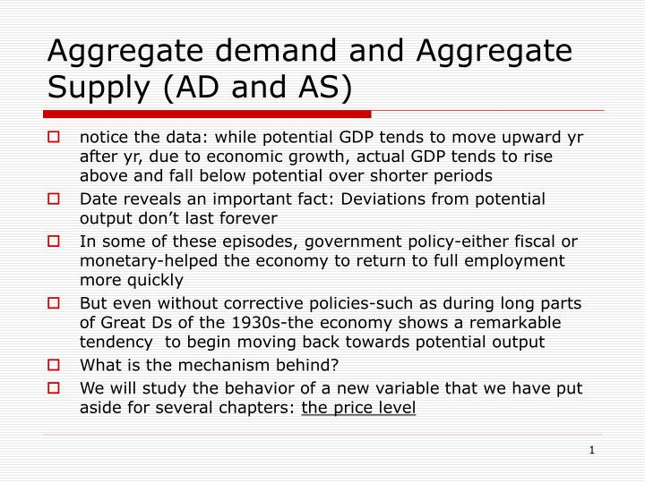 aggregate demand and aggregate supply ad and as n.