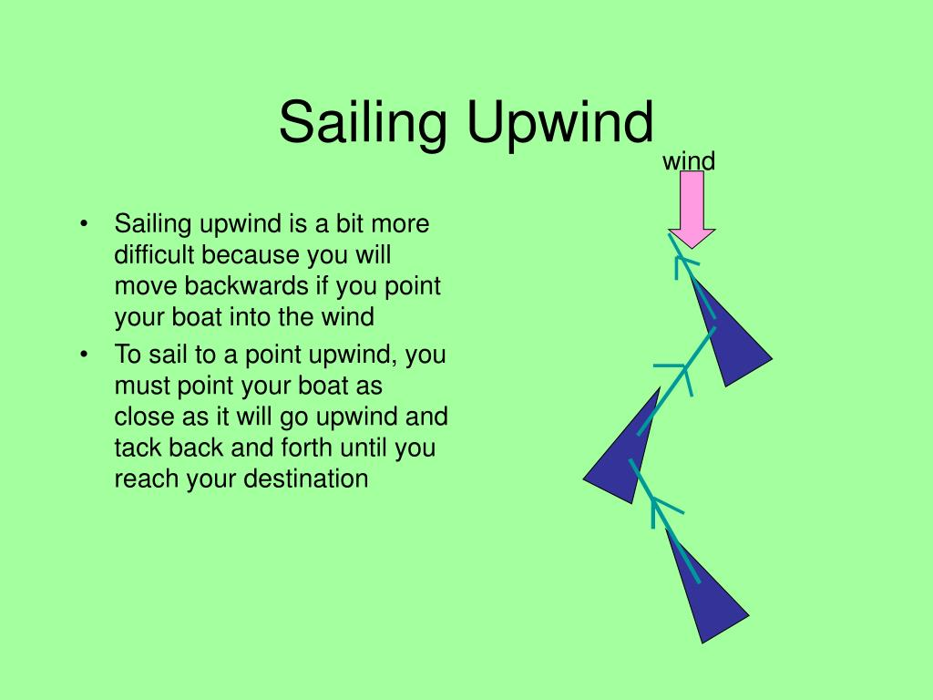 Sailing upwind is a bit more difficult because you will move backwards if you point your boat into the wind