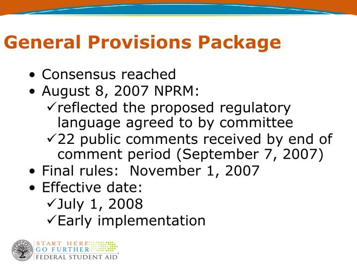 General Provisions Package