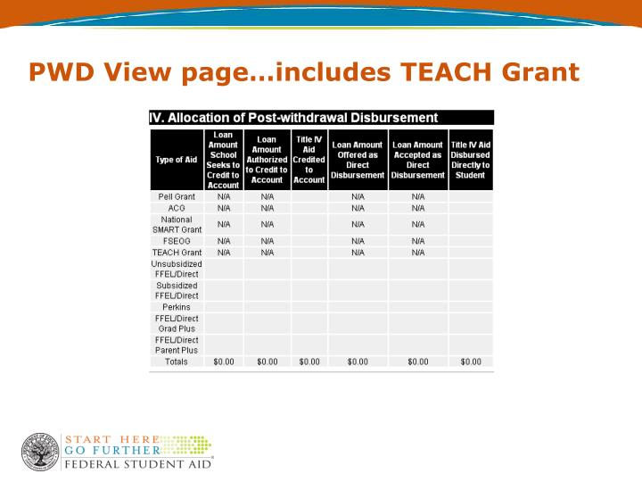 PWD View page…includes TEACH Grant
