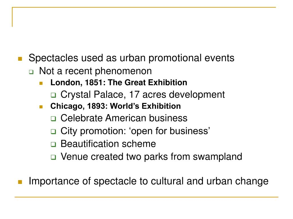 Spectacles used as urban promotional events