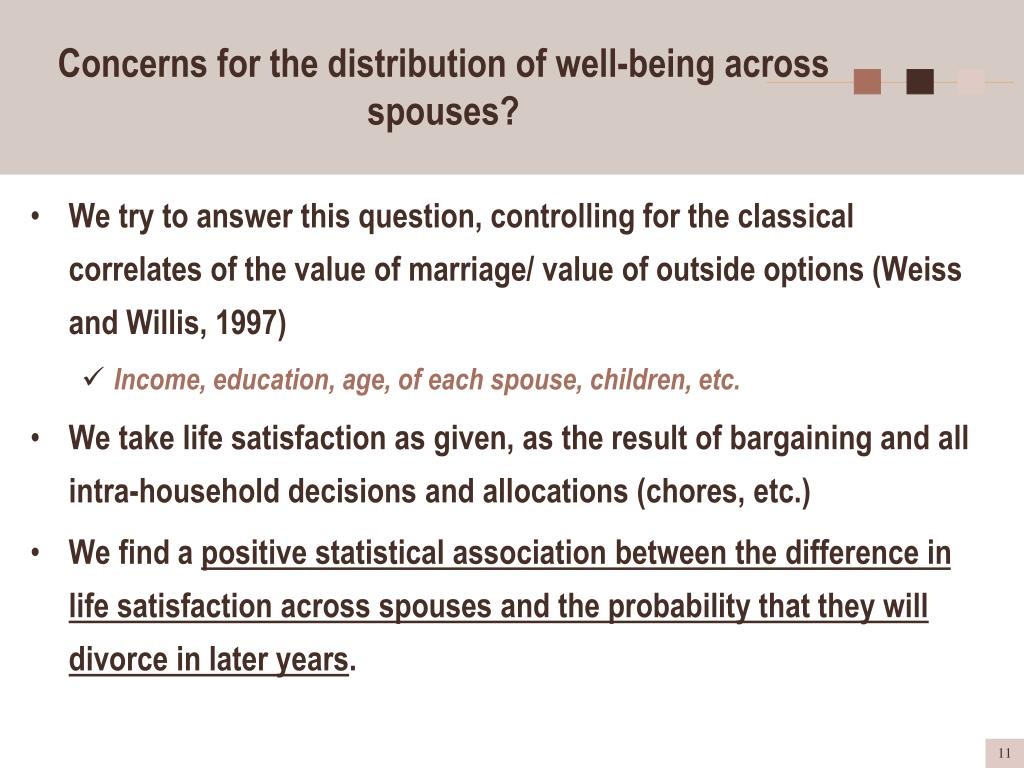 Concerns for the distribution of well-being across spouses?