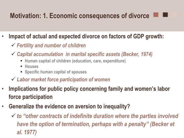 Motivation 1 economic consequences of divorce