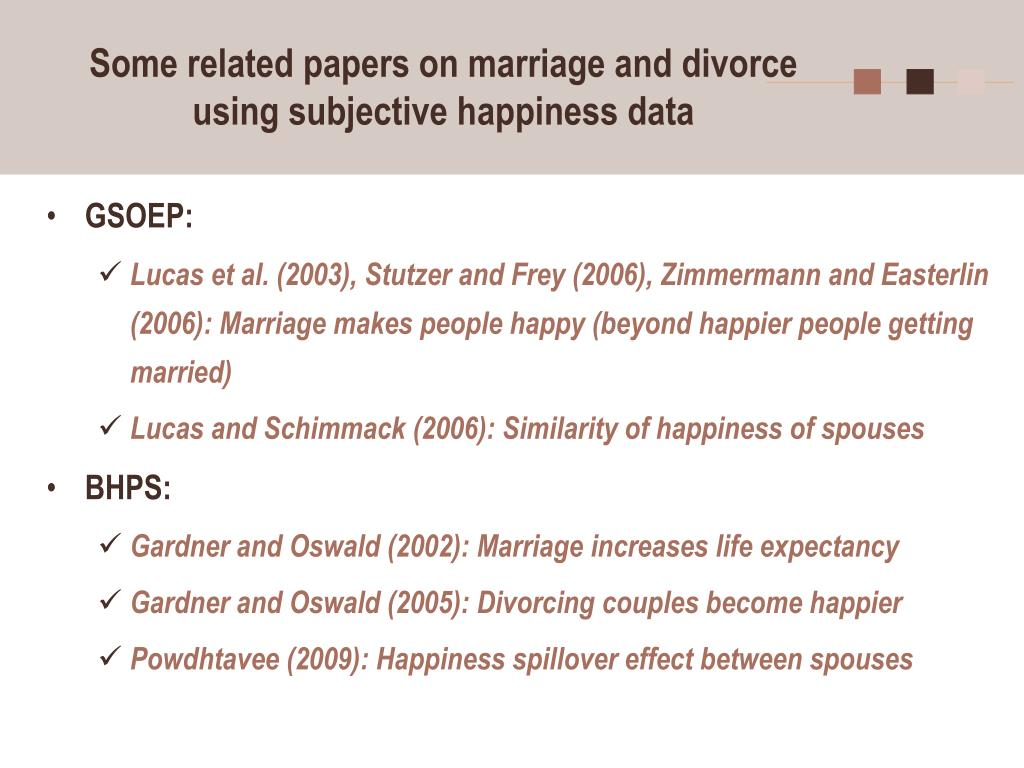 Some related papers on marriage and divorce using subjective happiness data