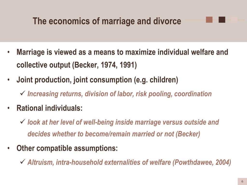 The economics of marriage and divorce