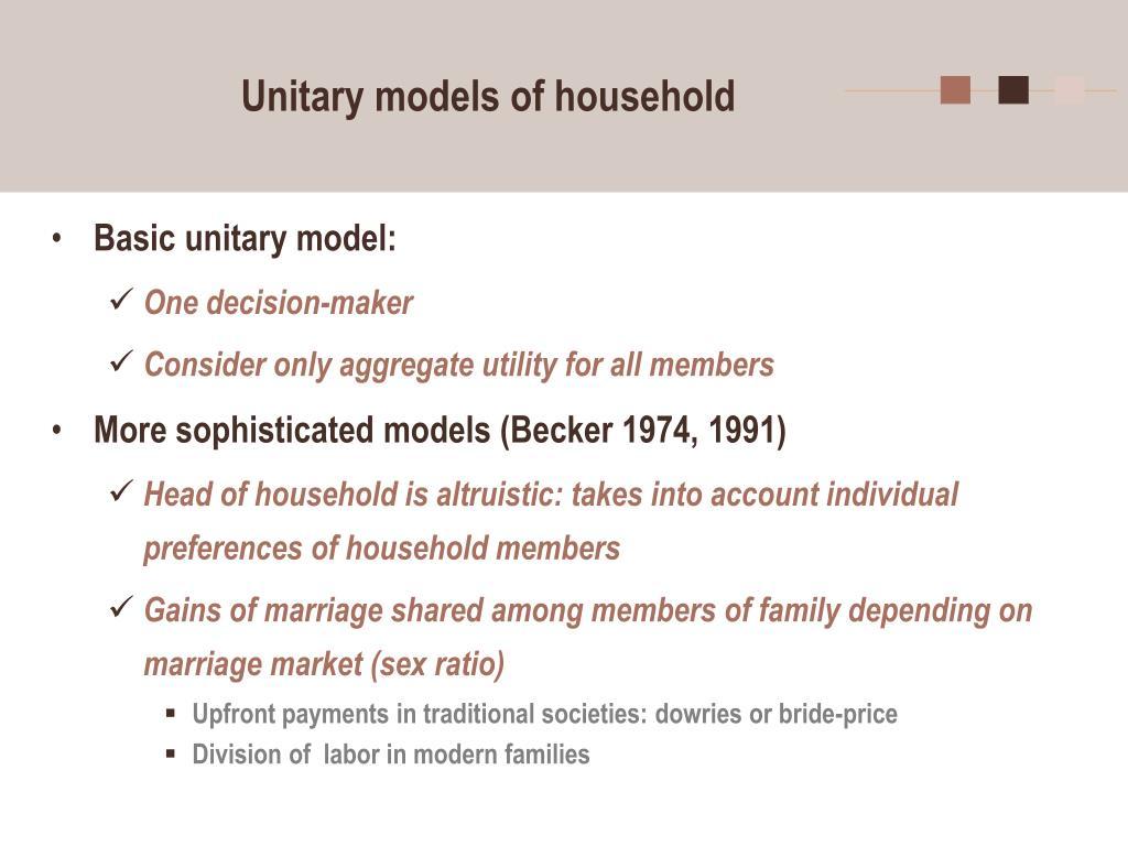 Unitary models of household