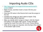 importing audio cds