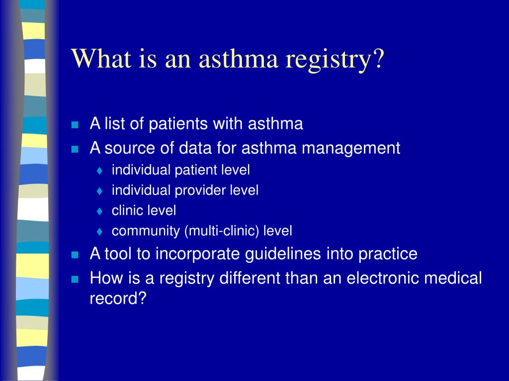 what is an asthma registry l.