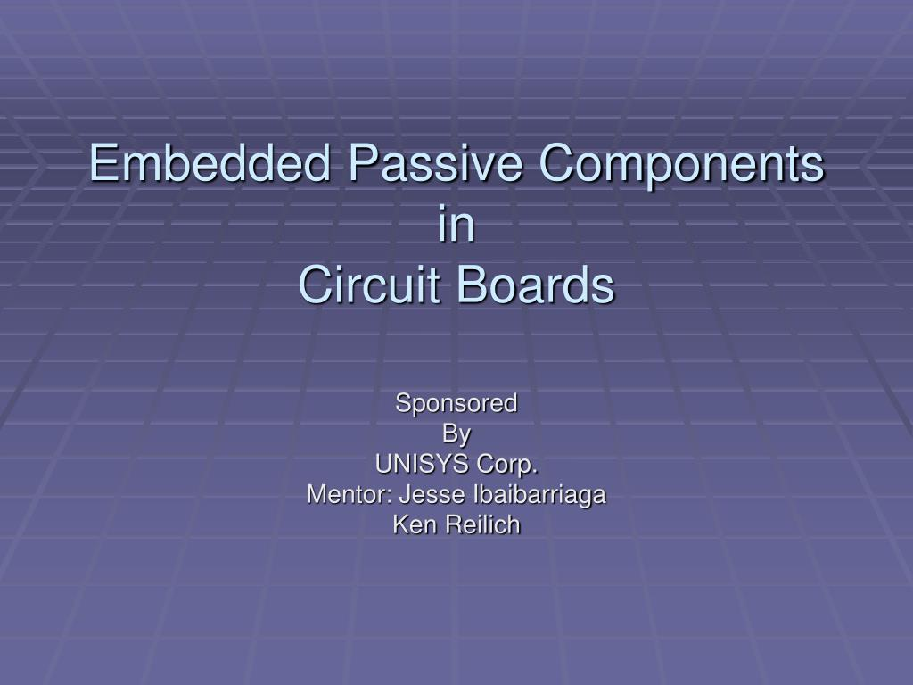 embedded passive components in circuit boards l.