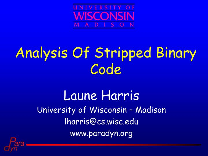analysis of stripped binary code n.