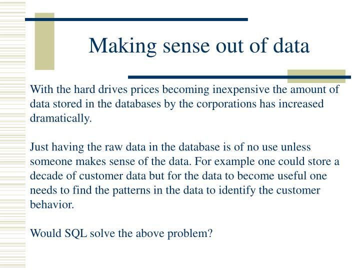 Making sense out of data