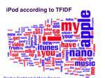 ipod according to tfidf