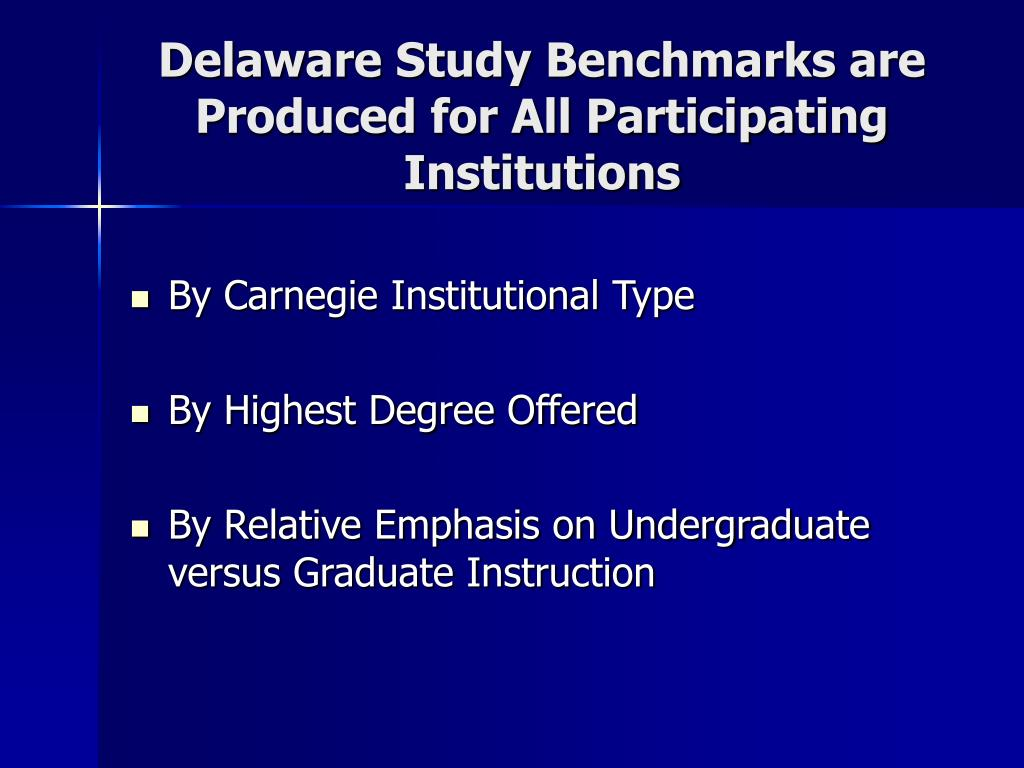 Delaware Study Benchmarks are Produced for All Participating Institutions