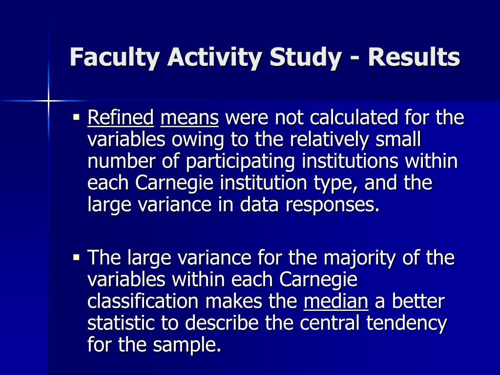 Faculty Activity Study - Results