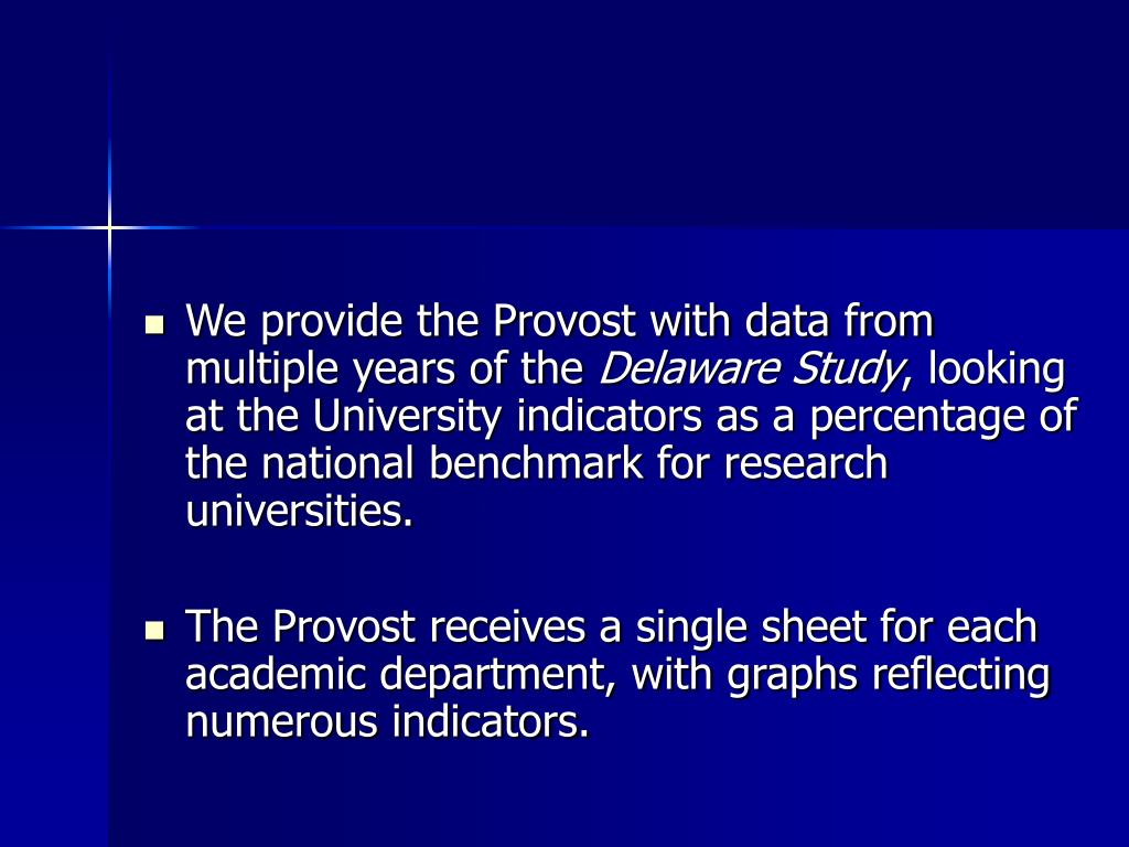 We provide the Provost with data from multiple years of the