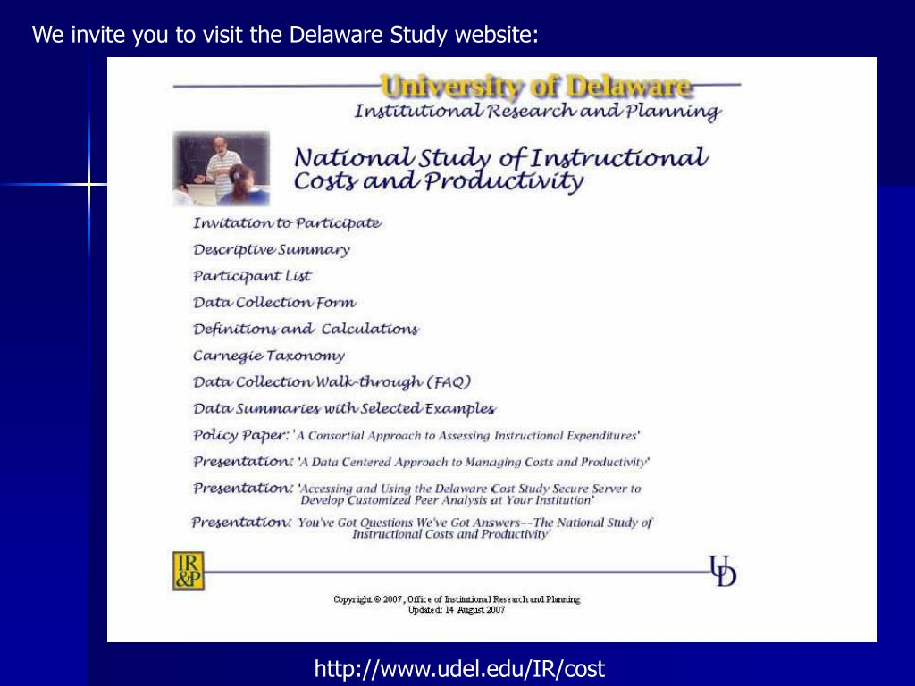 We invite you to visit the Delaware Study website: