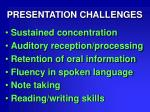 presentation challenges
