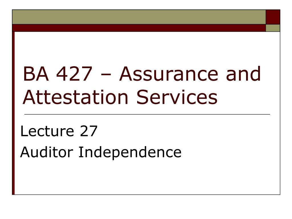 ba 427 assurance and attestation services l.