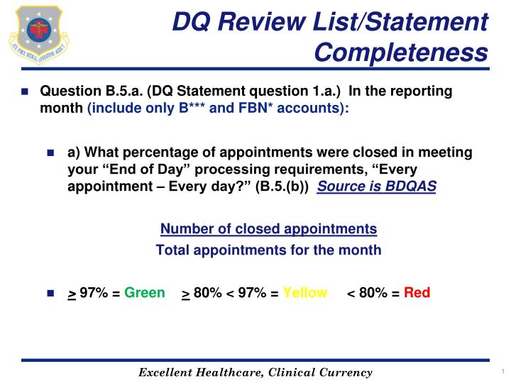 dq review list statement completeness n.