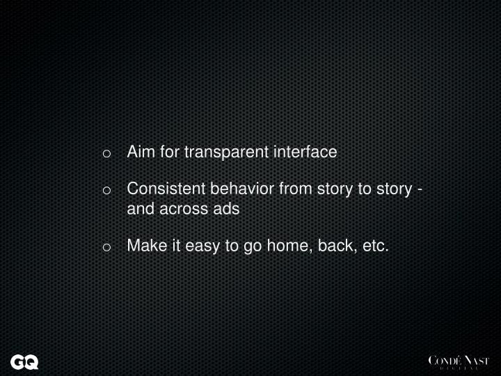 Aim for transparent interface