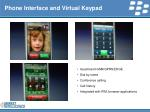 phone interface and virtual keypad