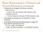 binary representation of numeric and textual information continued14