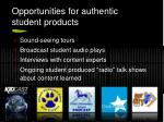opportunities for authentic student products