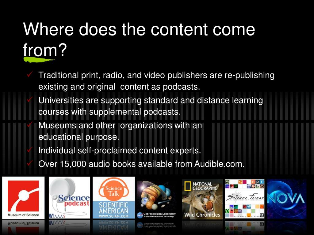 Where does the content come from?