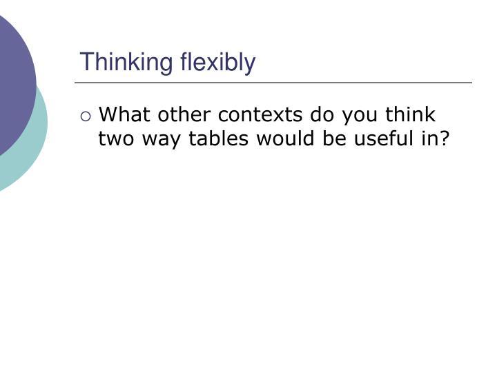 Thinking flexibly