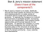 ben jerry s mission statement does it have all the components