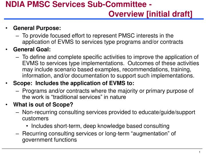 ndia pmsc services sub committee overview initial draft n.