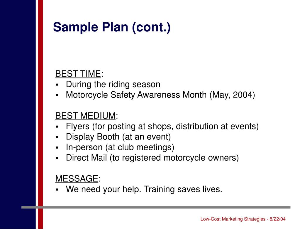 Sample Plan (cont.)