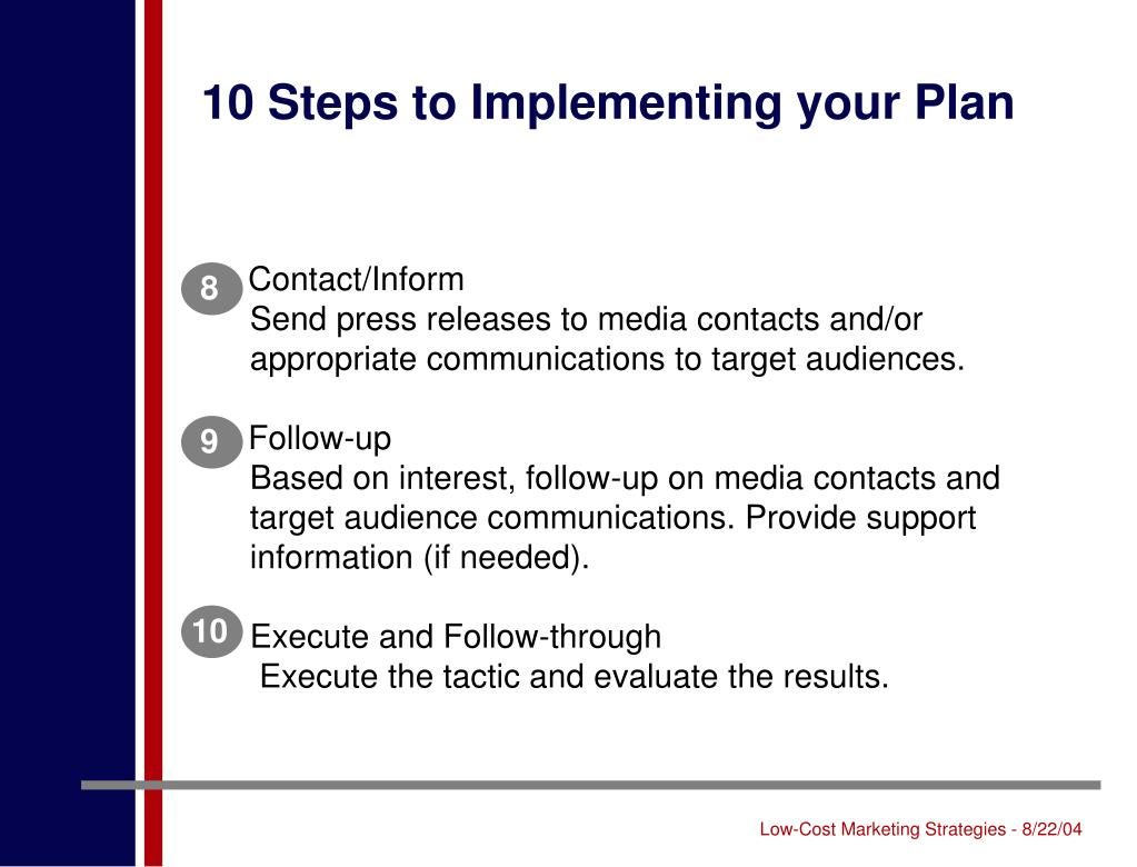 10 Steps to Implementing your Plan