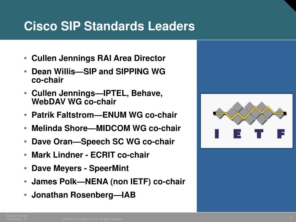 Cisco SIP Standards Leaders