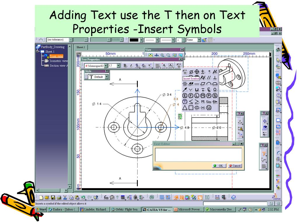 Adding Text use the T then on Text Properties -Insert Symbols