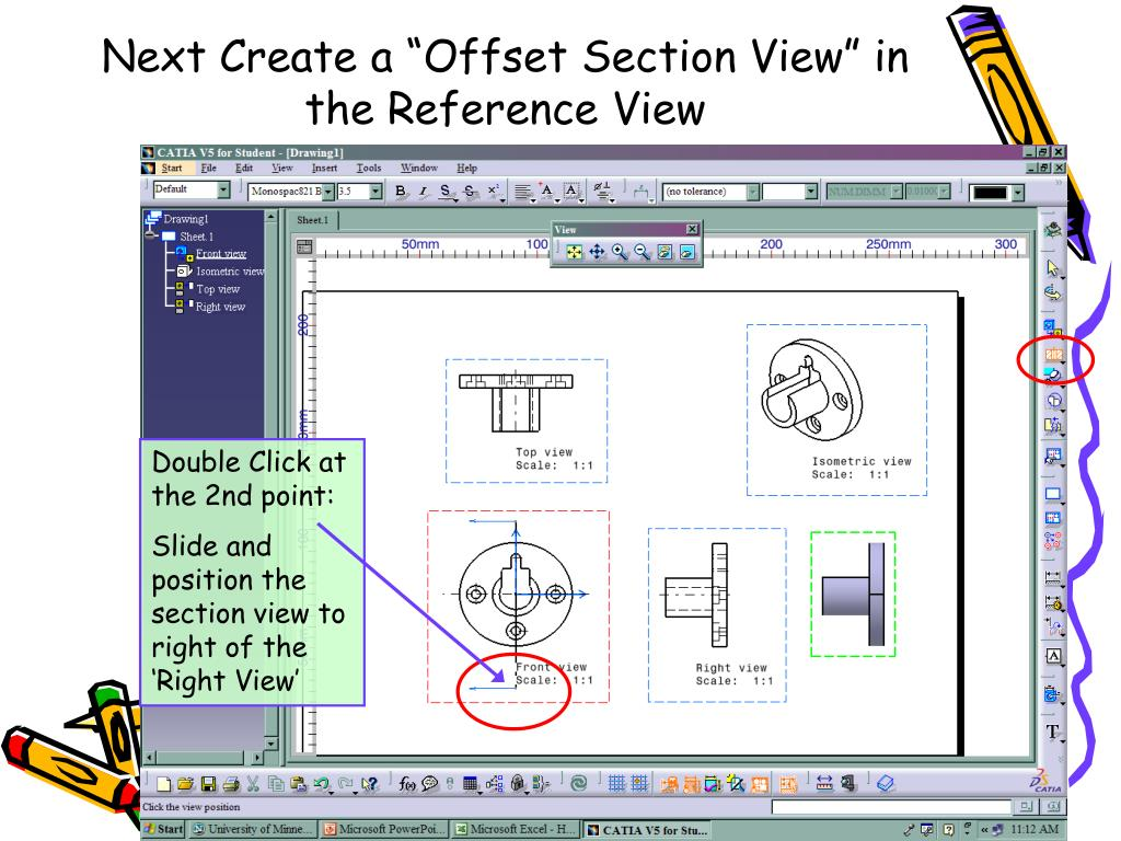 """Next Create a """"Offset Section View"""" in the Reference View"""