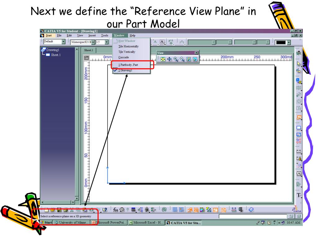 """Next we define the """"Reference View Plane"""" in our Part Model"""
