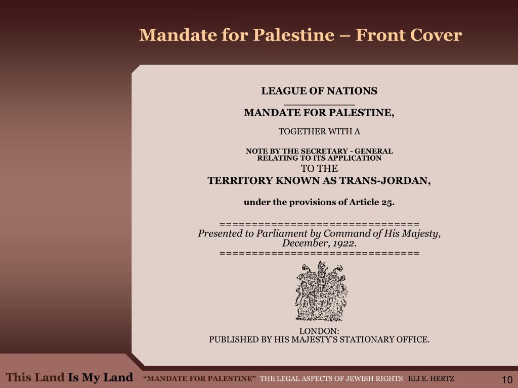 Mandate for Palestine – Front Cover