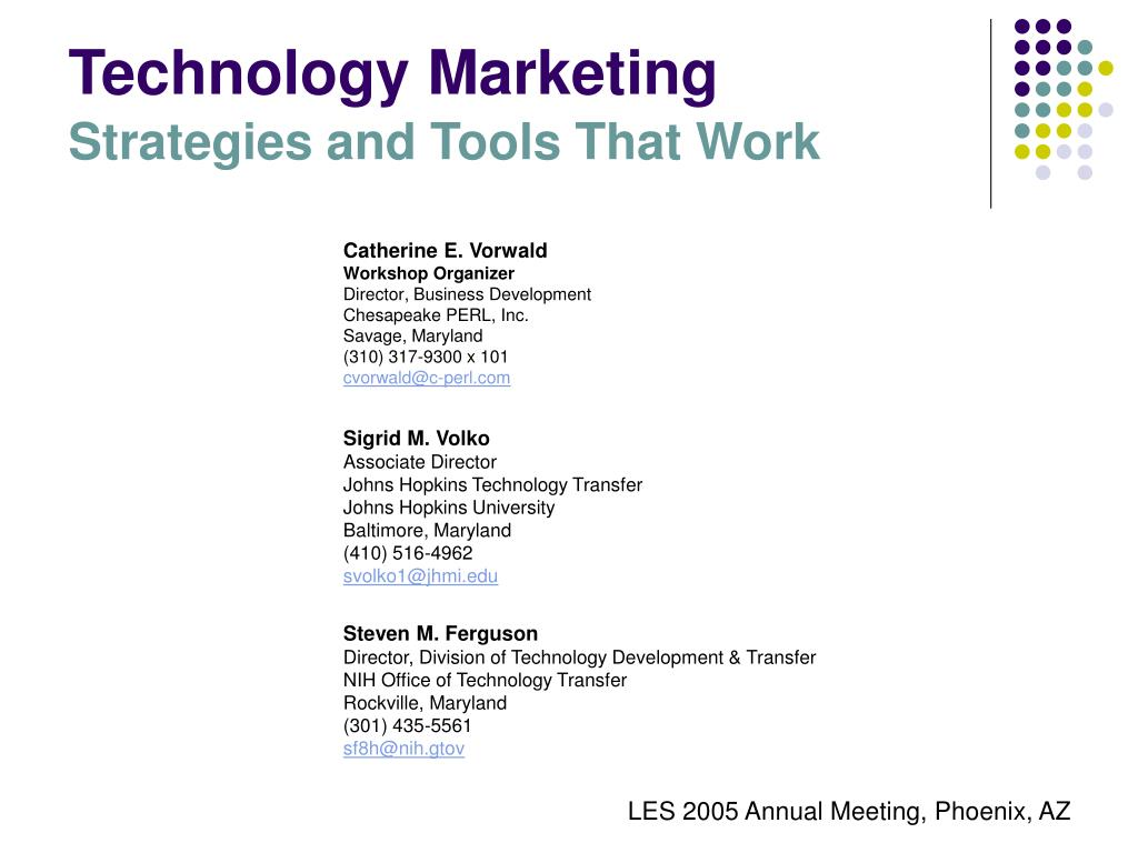 technology marketing strategies and tools that work l.